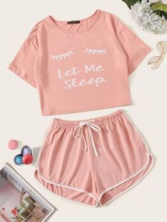 Shop Slogan Graphic Top & Drawstring Waist Dolphin Shorts PJ Set at ROMWE, discover more fashion styles online. Cute Lazy Outfits, Teenage Girl Outfits, Cute Casual Outfits, Teenager Outfits, Simple Outfits, Outfits For Teens, Stylish Outfits, Summer Outfits, Formal Outfits
