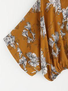 Random Florals Kimono Sleeve Surplice Blouse