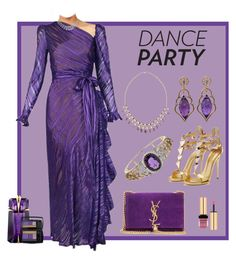 Dance Party - Dressed in Purple and Gold by jonna-hansen on Polyvore featuring Yves Saint Laurent, Wayne Smith Jewels, Turner & Tatler, Lancôme and Thierry Mugler