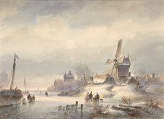 Lodewijk Johannes Kleijn (1817–1897) - Winterlandschap met een bevroren rivier en een dorp