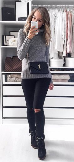 #fall #outfits women's heather-gray sweater