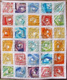 Rainbow Vortex quilt by Six White Horses. Based on Aneela Hoey's crazy scrappy blocks,