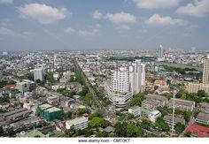Thailand, Bangkok. Downtown Bangkok, skyline view with Chao Phraya river. - Stock Image