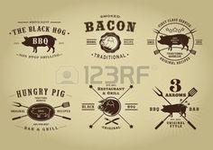 pig illustration: Vintage Retro Pork Barbecue Bar Restaurant Seals Collection Illustration