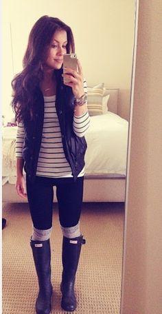 Stripes, Puffy Vest, Hunter Boots.