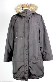 Michael Kors Women Coat Jacket SZ L Detachable Faux Fur Hood Lined Down parka #MichaelKors #Parka