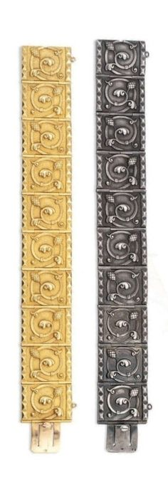 Louis Wièse - Two antique bracelets, after 1890. Each formed of ten rectangular panels with foliate scrolling motifs and sugarloaf stud borders, one gold, the other silver. With French marks and maker's mark Wièse with a star above and below stamped in a lozenge for Louis Wièse after 1890.