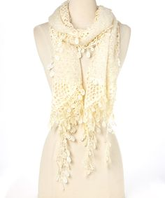 Ivory Mohair-Blend Scarf
