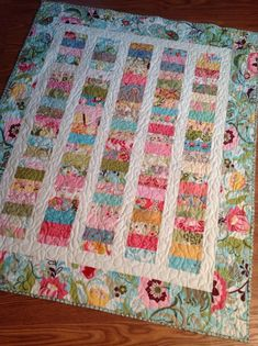 Chez Moi Lap Quilt or Baby Quilt-- Coins quilt -- vintage, floral pink, green, yellow, blue, aqua