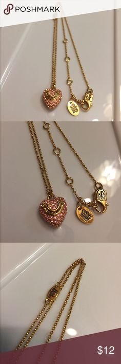 Juicy Couture Pink Rhinestone Heart Necklace Excellent condition. Cute piece! Juicy Couture Jewelry Necklaces
