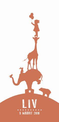 Geboortekaartje Liv - voorkant - Pimpelpluis - https://www.facebook.com/pages/Pimpelpluis/188675421305550?ref=hl (#  meisje - silhouet - dieren - giraf - olifant - beer - konijn - ballon - origineel)