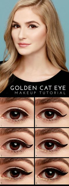 Mesmerising Golden Cat Eye DIY Tutorial and 7 more Easy to Follow Advanced Cat Eyes Makeup