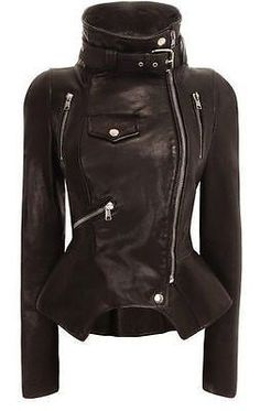 GENUINE LAMBSKIN LEATHER SLIM FIT MOTORCYCLE ZIPPER JACKET FOR WOMEN G-D-13 in Clothing, Shoes & Accessories, Women's Clothing, Coats & Jackets | eBay