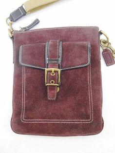 Coach Hamilton Swingpack Purple Plum Suede Cross-Body Shoulder Bag Handbag 8E87 #Coach #MessengerCrossBody