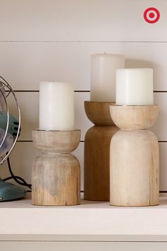 Group wood pillar candleholders together on a table, shelf or window sill for a natural, earthy look. Then, light your candles, relax and enjoy the glow.