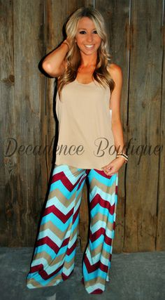 PARIS PALAZZO PANTS IN RED/BLUE MULTI | decadenceboutique