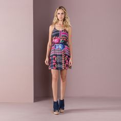 Vestido Trapézio Estampado Maxi $178 - Lez a Lez
