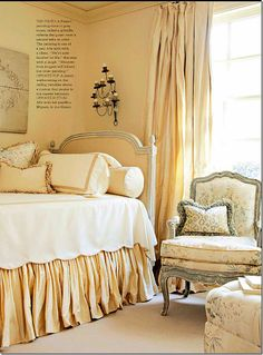 Yellow & sony,  painted antique Louis XVI chest with the french chair– lovely accents in this bedroom