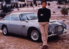 Pierce Brosnan with the Aston Martin DB5 in the south of France during the filming of GoldenEye