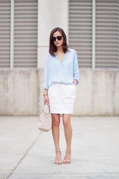 white skirt with light blue silk blouse