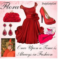 Disney Style: Flora, created by trulygirlygirl Disney Character Outfits, Disney Themed Outfits, Character Inspired Outfits, Disney Bound Outfits, Disney Princess Fashion, Disney Inspired Fashion, Princess Outfits, Disney Style, Disney Fashion