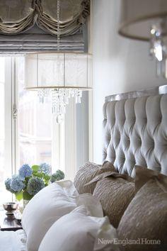 bedroom, tufted headboard