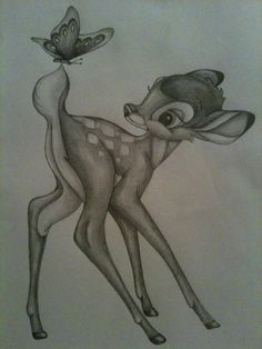 Disney Drawing Growing up, Bambi was one of my favorite movies so this drawing really stood out to me. The expression in Bambi's face is great - Amazing Drawings, Love Drawings, Beautiful Drawings, Drawing Sketches, Amazing Art, Art Drawings, Sketching, Disney Sketches, Disney Drawings