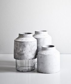 Hanne Willmann; Glass and Concrete 'Willmann' Vase for Menu, 2013.