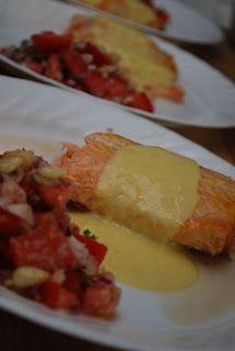 Fil et fouet: Saumon sauce aux agrumes et salade de tomates