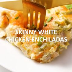 Weight watcher meals 592082682242944461 - Skinny White Chicken Enchiladas are rich and creamy, but skip the high fat and calorie content of traditional creamy enchiladas. Click the video for the full recipe! Ww Recipes, Mexican Food Recipes, Cooking Recipes, Salt Free Recipes, Skinny Girl Recipes, Cheap Recipes, Budget Recipes, Fast Recipes, Sweets Recipes
