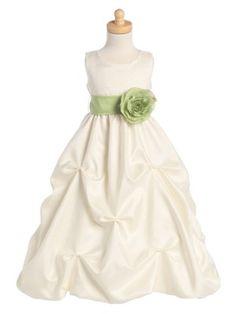 Ivory Gathered Shantung Pick Your Sash Flower Girl Dress (Sizes 12 months - 12) - Flower Girl Dresses - GIRLS