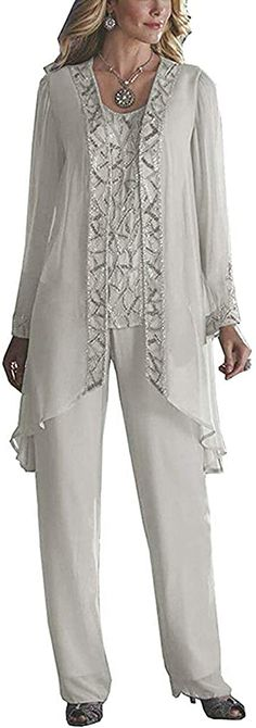 Shop the latest collection of HIDRESS Women's Elegant Mother The Bride Pant Suits Wedding 3 Pieces Beaded Outfits from the most popular stores - all in one place. Similar products are available. Mother Of The Bride Plus Size, Mother Of The Bride Dresses Long, Mother Of Bride Outfits, Mothers Dresses, Mother Of The Bride Trouser Suits, Wedding Pantsuit, Wedding Suits, Wedding Dresses, Boho Wedding