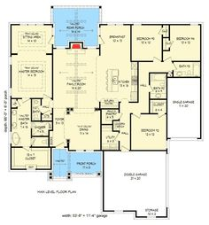 Craftsman House Plan with Vaulted Family Room - Walk-in Pantry, Craftsman, Architectural Designs Bungalow House Plans, Craftsman Style House Plans, Ranch House Plans, Dream House Plans, House Floor Plans, Craftsman Ranch, The Plan, How To Plan, Autocad
