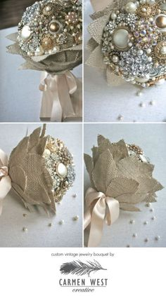 Please help me choose which way to finish my brooch bouquet :  wedding bouquet wrap brooch bouquet diy flowers leaves Carmen West Brooch Bouquet