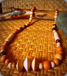 Long mixed wood beaded necklace by KAZAMdesigns on Etsy, $13.00