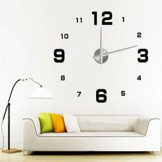 Ocea DIY grande relógio de parede 3D Metal grande presente criativo decoração de casa alishoppbrasil