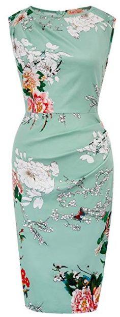 ca3d243bfa0 Belle Poque Women s Vintage Sleeveless Scoop Neck Floral Party Pencil Dress  Jw Fashion
