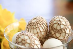 eek! Crochet-covered Easter eggs!! I love these! *I would make them over wooden eggs to save them year after year. Different colors for the wooden eggs and different color #10 (or 20 or 30) thread... would be beautiful