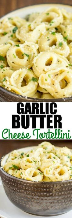 Piping hot Cheese Tortellini served in a simple, delicious garlic butter sauce. Double the batch because everyone is going to love it! via /culinaryhill/