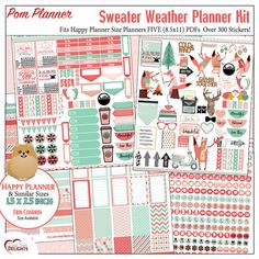 Sweater Weather Printable Planner Kit  5 PDFs, Over 300 Stickers EC or Happy Planner, Coral & Mint, Bible, Foxes, Fall, Winter,  Icons