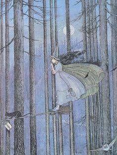 """This has to be one of the most clever interpretations of a witch on her broom I've ever seen! Ida Rentoul Outhwaite (1888 – 1960), """"The Witch on her Broomstick"""" by sofi01, via Flickr"""