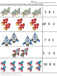 With this Sampler you will receive three (3) worksheets from my Space Themed Math Fun Preschool, Kindergarten Math Center Worksheets.
