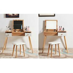 Wooden Dressing Table Makeup Desk with Flip-up Mirror ,Drawers Storage & Stool Dressing Table Jewellery, Makeup Dressing Table, Dressing Table With Stool, Makeup Table Ikea, Makeup Desk, Storage Stool, Storage Drawers, White Desk With Mirror, Desk Flip