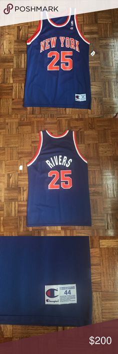 Doc Rivers Knicks Vintage Champion Jersey Sz 44 This is an NBA vintage doc rivers champion New York Knicks jersey size 44. It is brand new and never worn with the tag still on it from the 90's. Champion Other