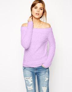 ASOS Off Shoulder Jumper In Fluffy Knit