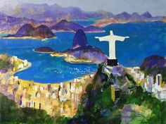 """CRISTO - I have just put CRISTO on Artfinder.  This 30 metre statue overlooks Rio de Janeiro in Brazil. I recently finished a commission to paint it as a 30"""" x 40"""" painting for an oil company. I am publishing the limited edition of 250 with various sizes available."""