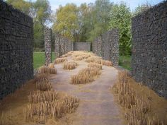 wandering path, cut grass & gabion stone