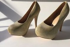 "Kitty Paws Shoes Women 4"" Champagne Glitter Sexy Shiny High Heels US Size 9  