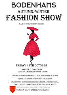 Come along and see the Autumn/Winter collection - all revenue for charity.  Collection is from: http://www.bodenhams.co.uk/