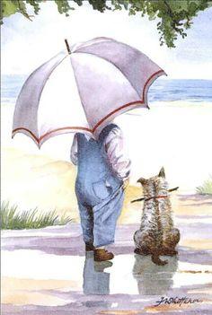 Little Boy By The Seashore With His Dog ~ Faye Whittaker Umbrella Art, Beach Art, Beautiful Paintings, Cute Art, Painted Rocks, Painting & Drawing, Vintage Art, Watercolor Paintings, Art Drawings